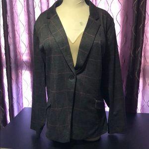 Torrid Gray and Pink Plaid Suit Jacket NWOT